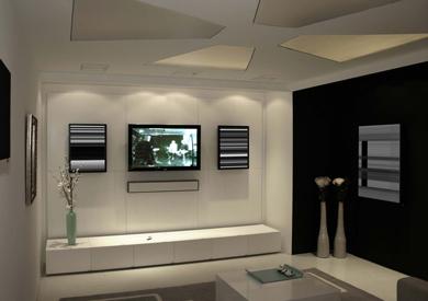 Salon dedi la projection avec un mur noir qu 39 elle - Peindre un mur de couleur dans un salon ...