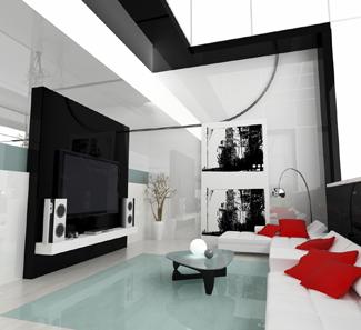 salon dedi la projection avec un mur noir qu 39 elle couleur pour les autres murs. Black Bedroom Furniture Sets. Home Design Ideas